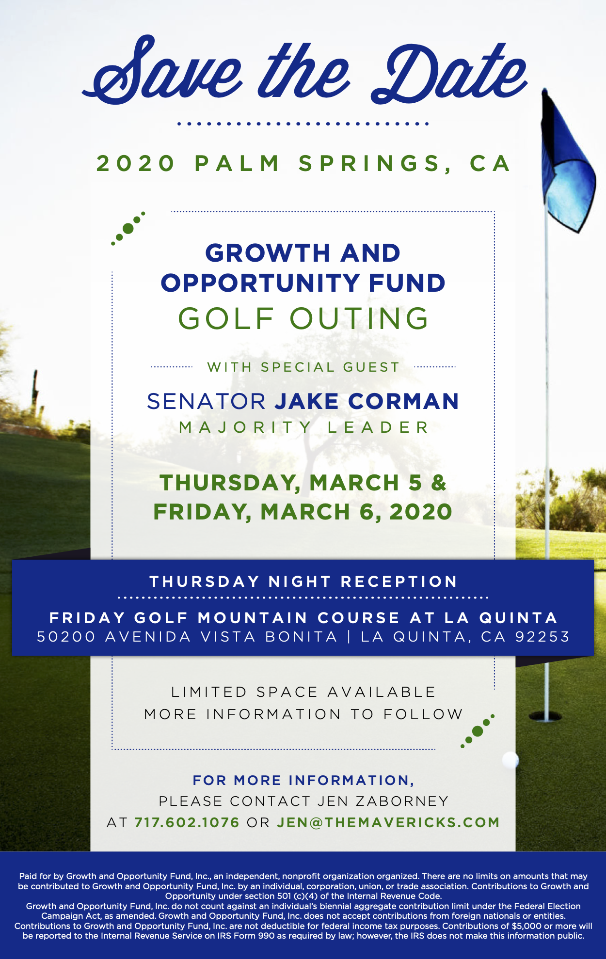 Invitation to a Growth and Opportunity Fund fundraising event